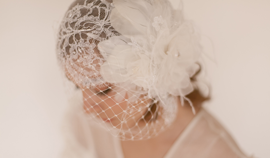 French Chantilly lace bridal cloche