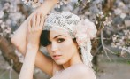 Blush Chantilly lace bridal cap