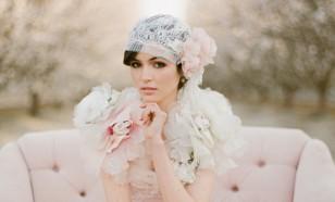 Blush bridal cap