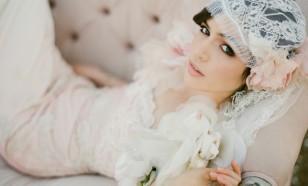 Pastel Blush Chantilly Lace Bridal Cap