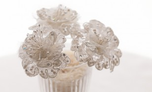 French Alencon lace hair pins