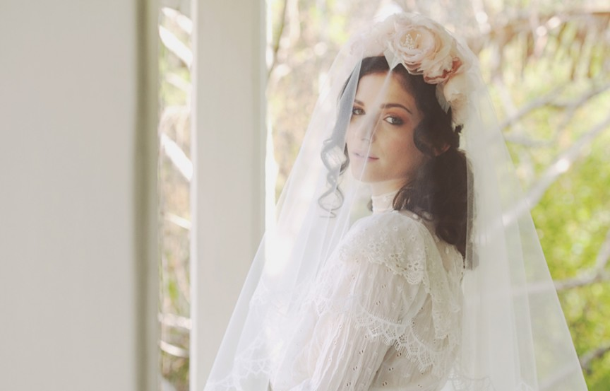 Silk flower crown with lace edge hankercheif veil