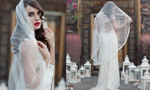 English silk tulle matilla bridal veil
