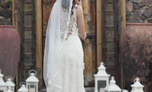 Full length silk tulle mantilla veil