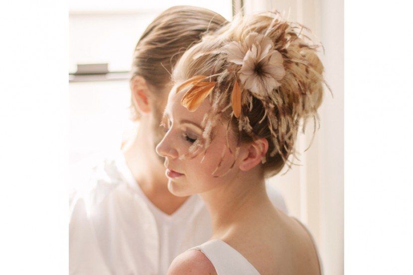 Latte Feather Fascinator
