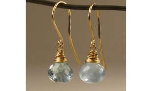 Aquamarine Onion Cut March Birthstone Drop Earring