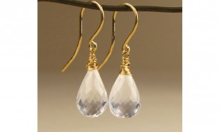 Milky Quartz gemstone bridal earrings