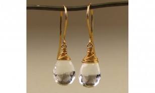 White crystal clear Topaz gemstone earrings
