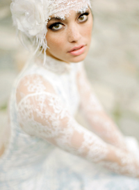 Deco French Chantilly lace bridal head wrap