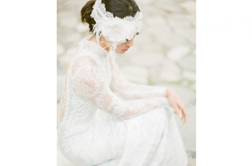 Claire Pettibone with lace head wrap