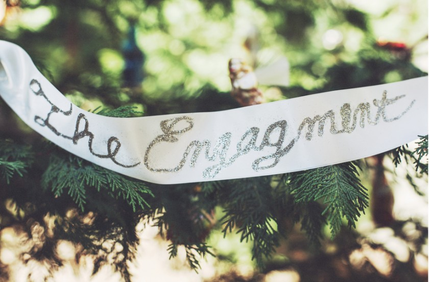 The engagement glitter scribed silk ribbon