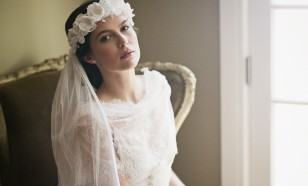 Constance Silk Flower Halo & English Net Veil
