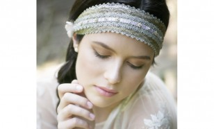 EILEEN METALLIC LACE AND RIBBON TIE HEADBAND