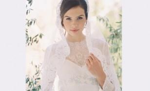 Babette French lace mantilla veil