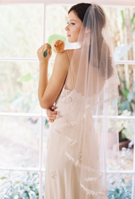FLOATING ON AIR LACE EDGE BLUSHER VEIL