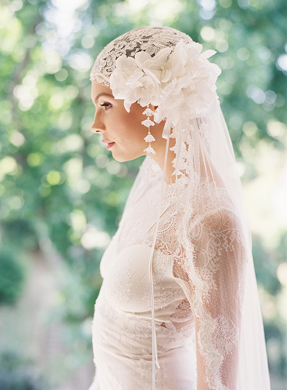 MANON LACE & SILK VEIL BRIDAL CAP